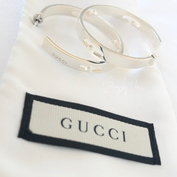 aa77242e313 New authentic GUCCI G cutout Hoop Earrings Silver